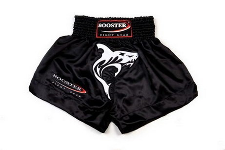 Booster Trunks Kick- Thaiboxing, schwarze Shorts mit Hai TBT-3