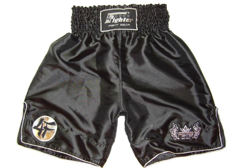 4Fighter K-1 Shorts K1 trunks black pants with white outlines 4FK1S-01