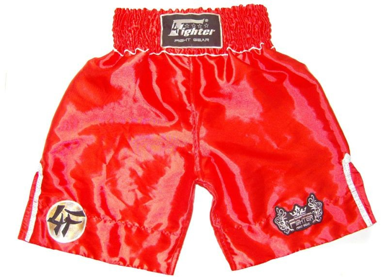 4Fighter K-1 Trunks K-1 Shorts red K1 pants with white outlines 4FK1S-02