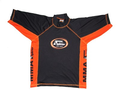 4Fighter Freefight / MMA Rashguard schwarz-orange kurzarm Gr. S