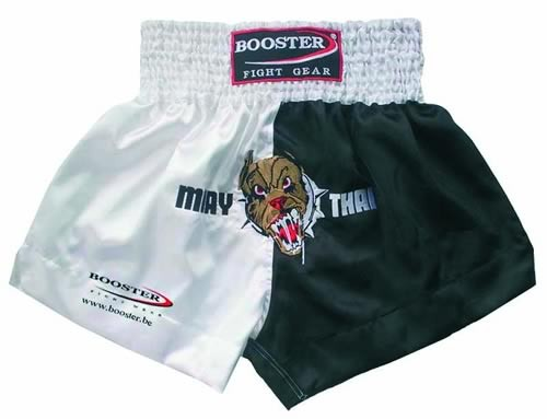 Booster Trunks Kick- Thaiboxing Shorts schwarz/weiss mit Bulldogge TBT-11